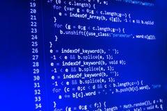 Κωδικοποιώντας οθόνη κωδικού πηγής προγραμματισμού Ζωηρόχρωμη αφηρημένη επίδειξη στοιχείων Χειρόγραφο προγράμματος Ιστού προγραμμ Στοκ φωτογραφία με δικαίωμα ελεύθερης χρήσης