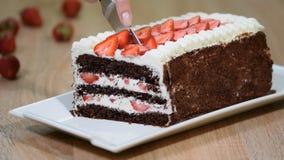Κόβοντας το γλυκό σπιτικό κέικ σοκολάτας με τη φράουλα και την κτυπημένη κρέμα, κλείστε επάνω φιλμ μικρού μήκους