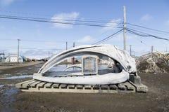 Κόκκαλα σαγονιών μιας φάλαινας στο χειραμάξιο, Αλάσκα Στοκ Εικόνες