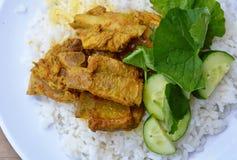 Κόκκαλο χοιρινού κρέατος κάρρυ στο σαφές ρύζι Στοκ Εικόνες