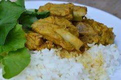 Κόκκαλο χοιρινού κρέατος κάρρυ στο σαφές ρύζι Στοκ Εικόνα