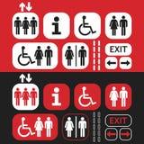 Κόκκινα, άσπρα και μαύρα σημάδια και εικονίδια δημόσια πρόσβασης καθορισμένα Στοκ Εικόνα