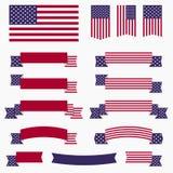 Κόκκινα άσπρα μπλε αμερικανική σημαία, κορδέλλες και εμβλήματα Στοκ εικόνες με δικαίωμα ελεύθερης χρήσης