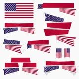 Κόκκινα άσπρα μπλε αμερικανική σημαία, κορδέλλες και εμβλήματα Στοκ Εικόνα
