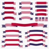 Κόκκινα άσπρα μπλε αμερικανική σημαία, κορδέλλες και εμβλήματα Στοκ φωτογραφία με δικαίωμα ελεύθερης χρήσης