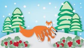 Κόκκινα αλεπού και cub στη χειμερινή εποχή διανυσματική απεικόνιση