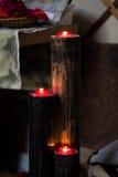 Κόκκινα αναμμένα κεριά Στοκ εικόνα με δικαίωμα ελεύθερης χρήσης