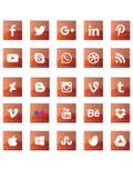Κόκκινα αφηρημένα κοινωνικά σημάδια μέσων Στοκ Εικόνες