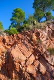 Κόκκινα βουνά ερήμων Desierto de Λας Πάλμας Castellon Στοκ Φωτογραφία
