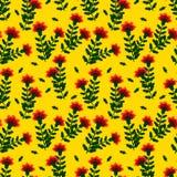 Κόκκινα γαρίφαλα με τα πράσινα φύλλα σε ένα κίτρινο υπόβαθρο απεικόνιση αποθεμάτων