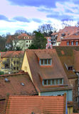 Κόκκινα γερμανικά σπίτια στεγών κεραμιδιών Στοκ φωτογραφία με δικαίωμα ελεύθερης χρήσης