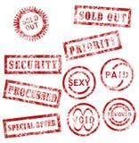 κόκκινα γραμματόσημα συλ&l Στοκ Εικόνες