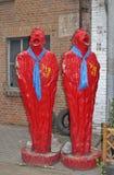 Κόκκινα γλυπτά στην περιοχή 798 τέχνης στο Πεκίνο Στοκ Φωτογραφίες