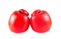 Κόκκινα εγκιβωτίζοντας γάντια   Στοκ Φωτογραφία