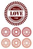 Κόκκινα εκλεκτής ποιότητας γραμματόσημα για την ημέρα βαλεντίνων απεικόνιση αποθεμάτων