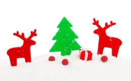 Κόκκινα ελάφια Χριστουγέννων, διακόσμηση Χριστουγέννων Στοκ Εικόνες