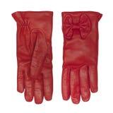 Κόκκινα θηλυκά γάντια δέρματος που απομονώνονται Στοκ φωτογραφία με δικαίωμα ελεύθερης χρήσης
