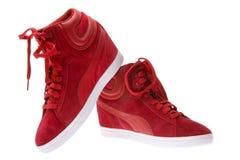 Κόκκινα θηλυκά όμορφα παπούτσια με τα υψηλά τακούνια Στοκ Εικόνες