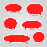 Κόκκινα διανυσματικά σύννεφα διαλόγου Στοκ Εικόνα
