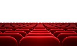 Κόκκινα καθίσματα κινηματογράφων ή ακροατηρίων που απομονώνονται Στοκ Εικόνα