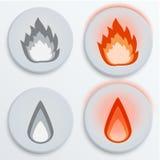 Κόκκινα, καθορισμένα εικονίδια φλογών πυρκαγιάς, διανυσματική απεικόνιση Στοκ Φωτογραφίες