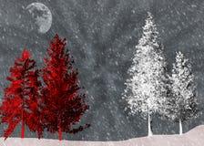 Κόκκινα και άσπρα δέντρα σε μια χειμερινή σκηνή βραδιού στοκ φωτογραφία