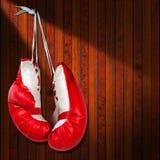 Κόκκινα και άσπρα εγκιβωτίζοντας γάντια Στοκ Εικόνες