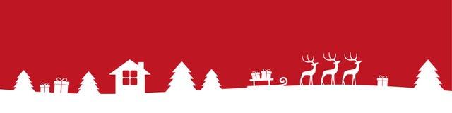 Κόκκινα και άσπρα χειμερινά σύνορα Χριστουγέννων με τα δώρα και τα έλατα ταράνδων απεικόνιση αποθεμάτων