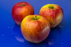 Κόκκινα και κίτρινα μήλα σε ένα μπλε υπόβαθρο Στοκ Εικόνα