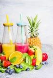 Κόκκινα και κίτρινα ποτά καταφερτζήδων στα μπουκάλια με τα συστατικά φρούτων στο ελαφρύ υπόβαθρο Υγιής τρόπος ζωής Στοκ Εικόνα