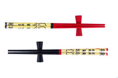 Κόκκινα και μαύρα chopsticks Στοκ εικόνες με δικαίωμα ελεύθερης χρήσης