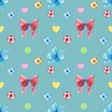 Κόκκινα και μπλε τόξα, sucker στροβίλου lollipop με το άνευ ραφής σχέδιο καρδιών διανυσματική απεικόνιση