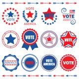 Κόκκινα και μπλε ετικέττες της Αμερικής ψηφοφορίας και στοιχεία σχεδίου καθορισμένες Στοκ εικόνες με δικαίωμα ελεύθερης χρήσης
