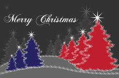 Κόκκινα και μπλε χριστουγεννιάτικα δέντρα Στοκ φωτογραφίες με δικαίωμα ελεύθερης χρήσης