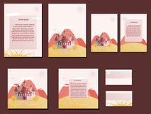Κόκκινα και πορτοκαλιά ζωηρόχρωμα φυλλάδια, επαγγελματικές κάρτες με το σχέδιο κάστρων Στοκ Φωτογραφίες