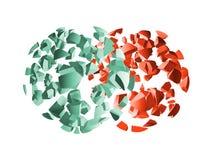 Κόκκινα και πράσινα τρισδιάστατα τεμάχια σφαιρών έκρηξης διανυσματική απεικόνιση
