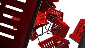 Κόκκινα καλάθια αγορών ελεύθερη απεικόνιση δικαιώματος