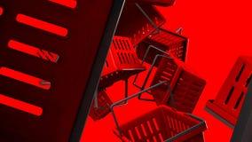 Κόκκινα καλάθια αγορών διανυσματική απεικόνιση