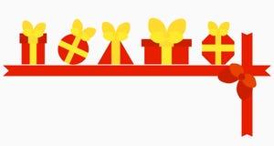 Κόκκινα κιβώτια με τα δώρα Στοκ εικόνα με δικαίωμα ελεύθερης χρήσης
