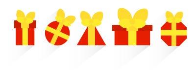 Κόκκινα κιβώτια με τα δώρα Στοκ φωτογραφία με δικαίωμα ελεύθερης χρήσης
