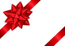 Κόκκινα κορδέλλα και τόξο δώρων για τη γωνία του ντεκόρ σελίδων απεικόνιση αποθεμάτων