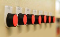 Κόκκινα κουμπιά στάσεων Στοκ Φωτογραφίες