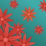 κόκκινα λουλούδια εγγράφου στο μπλε υπόβαθρο Στοκ φωτογραφίες με δικαίωμα ελεύθερης χρήσης
