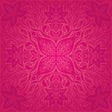 Κόκκινα λουλούδια, πανέμορφο διακοσμητικό Floral σχέδιο mandala υποβάθρου μόδας απεικόνιση αποθεμάτων