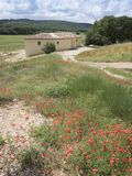 Κόκκινα λουλούδια παπαρουνών και παλαιό σπίτι της Προβηγκίας στο αγροτικό τοπίο της νότιας Γαλλίας Στοκ Εικόνες