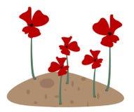 Κόκκινα λουλούδια στο μικρό σωρό λάσπης διανυσματική απεικόνιση