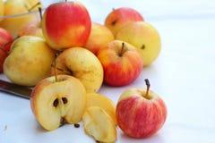 Κόκκινα μήλα φρέσκα στο άσπρο υπόβαθρο Στοκ Φωτογραφίες