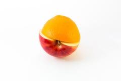 κόκκινα μήλο και πορτοκάλι που απομονώνονται κατά το ήμισυ Στοκ Εικόνα
