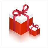 Κόκκινα μεγάλα και μικρά κιβώτια δώρων επίσης corel σύρετε το διάνυσμα απεικόνισης Στοκ Εικόνα
