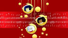 Κόκκινα μουσικά παιδιά μορίων Χαρούμενα Χριστούγεννας αποτελέσματος απόθεμα βίντεο